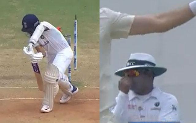 Umpire Nitin Menon's reaction to Ajinkya Rahane's wicket