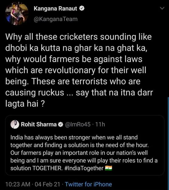Kangana Ranaut's reply to Rohit Sharma's tweet.