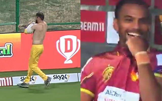 Shirtless Rohan Mustafa and Nicholas Pooran Laughing