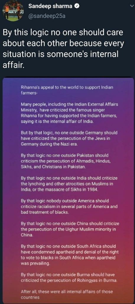 Sandeep Sharma's deleted tweet