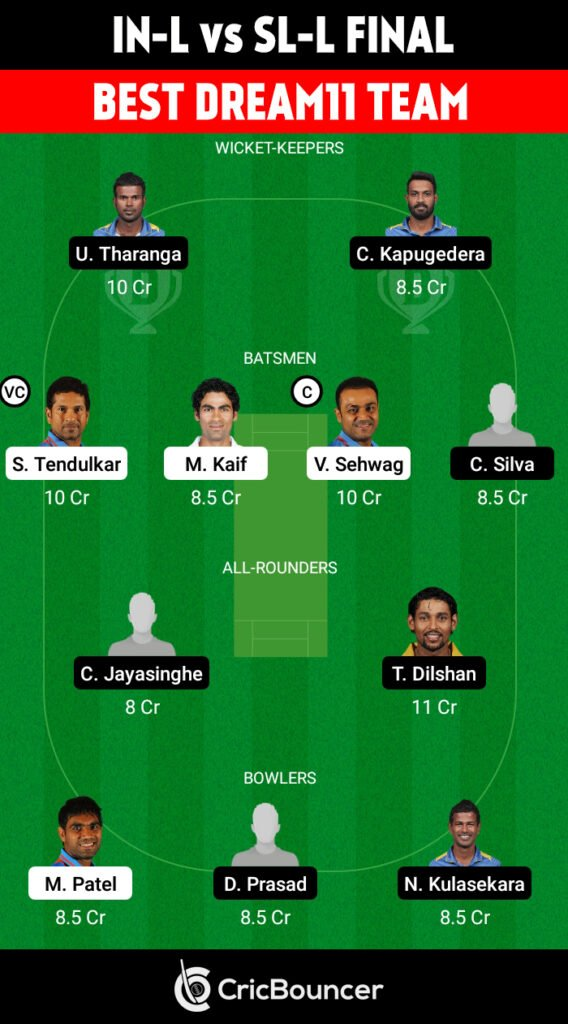 India Legends vs Sri Lanka Legends Final Best Dream11 Team