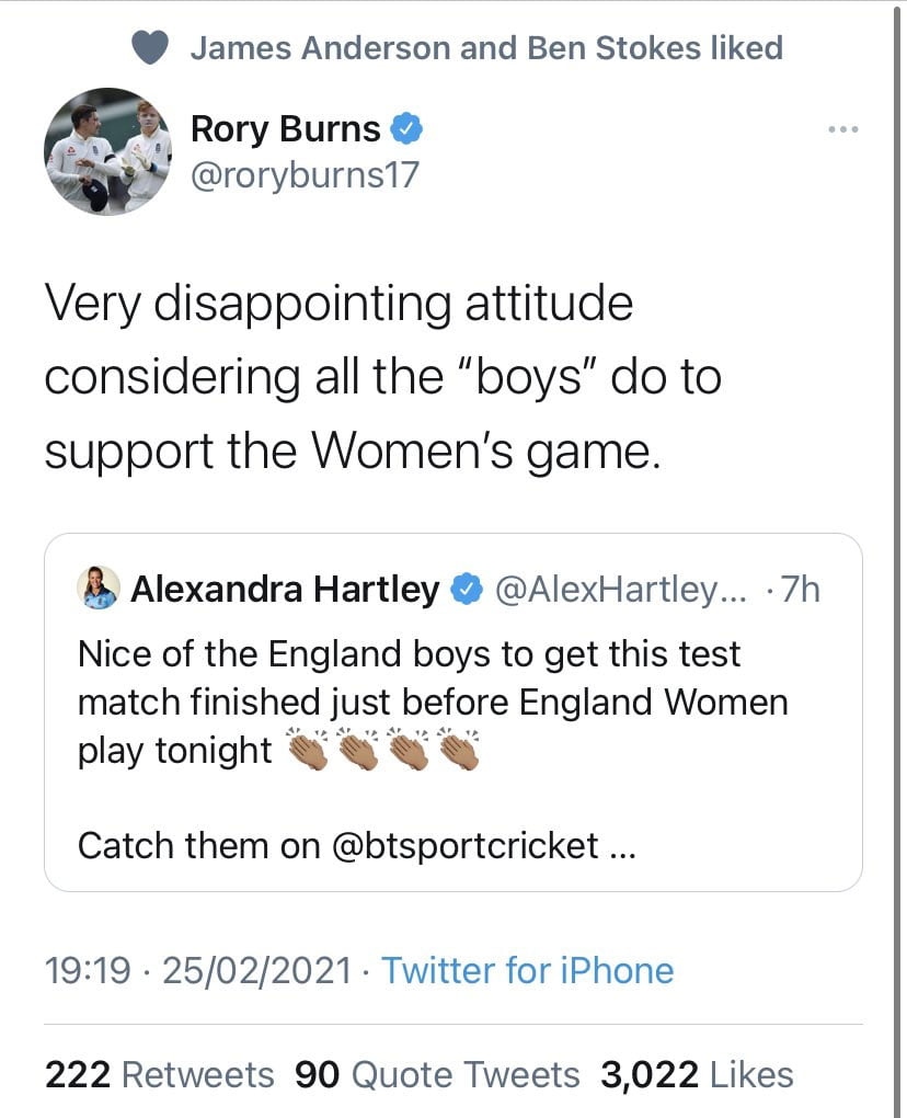 Rory Burns reply to Alex Hartley