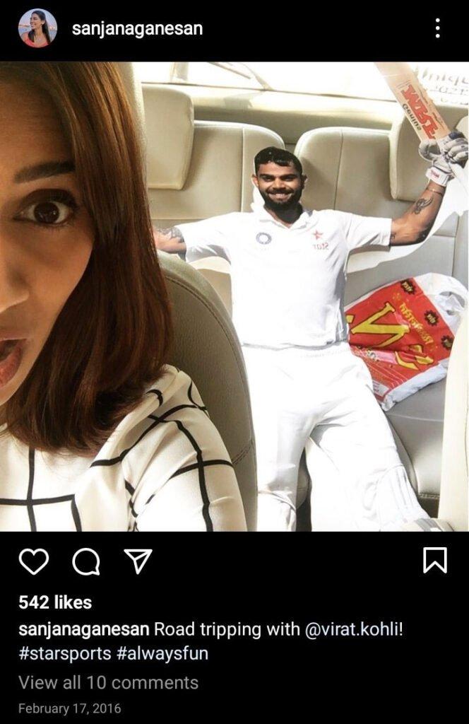 Sanjana Ganesan tweet on Virat Kohli