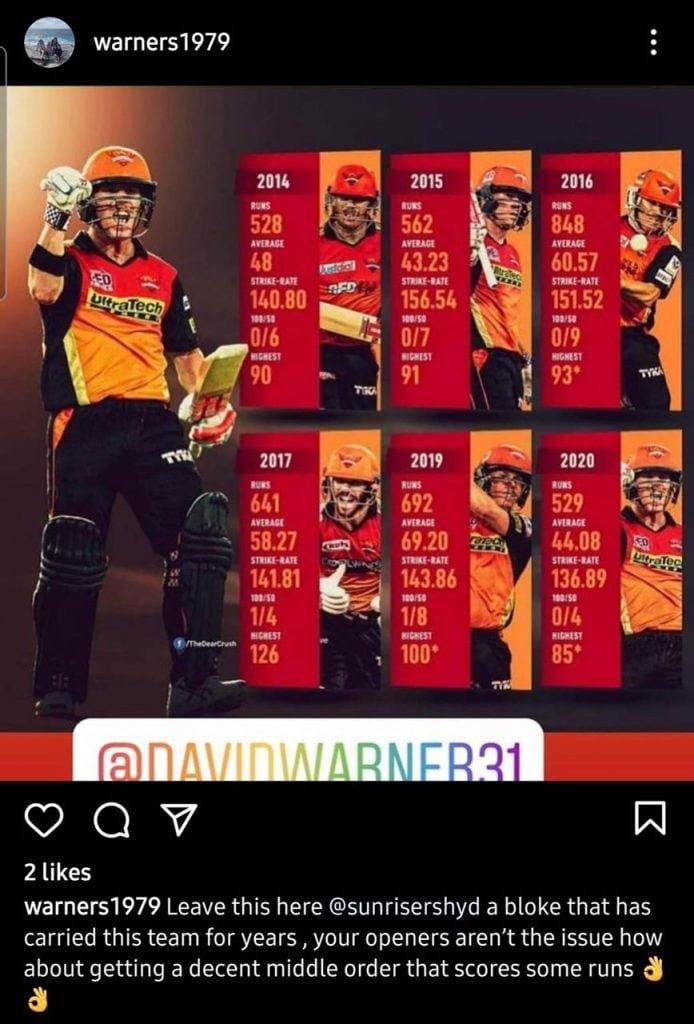 David Warner's brother post on Instagram