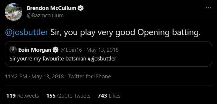 Brendon Mccullum and Eoin Morgan Twitter Post