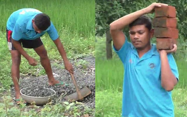 Naresh Tumda working as daily wage labourer