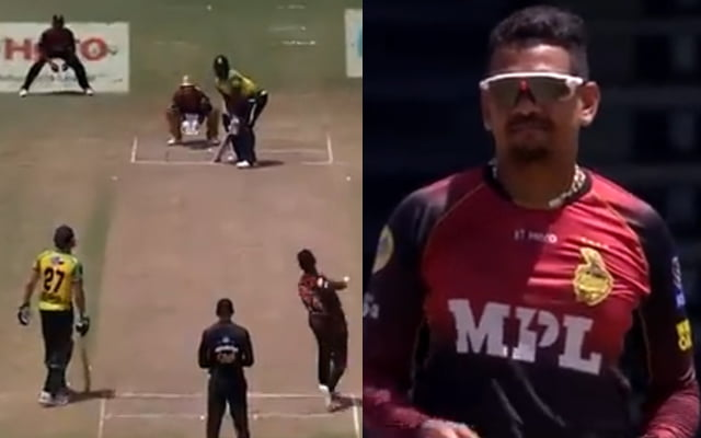 Sunil Narine bowls a maiden over against Andre Russell