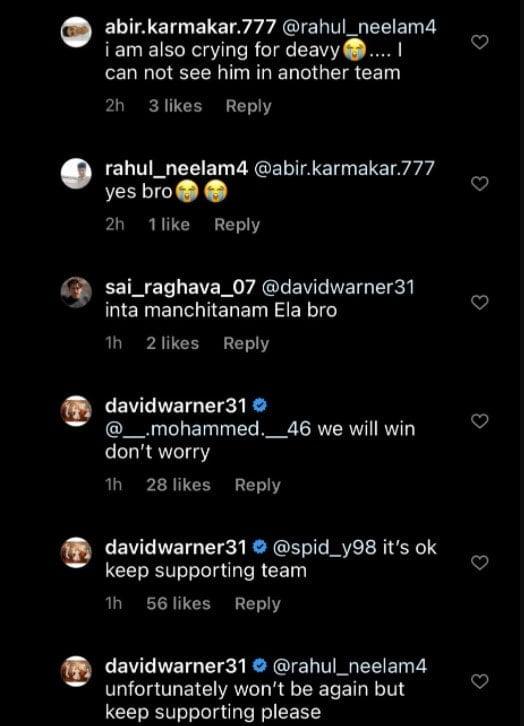 David Warner comment on Instagram