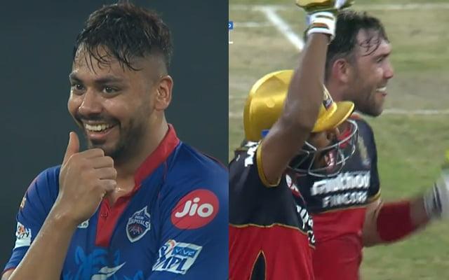 KS Bharat hit a six on last ball off Avesh Khan